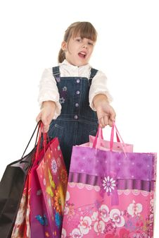 Free Picture Of Happy Little Girl With Gift Stock Photos - 22279403