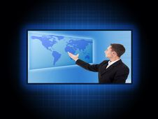 Free Businessman With World Map Stock Images - 22281274