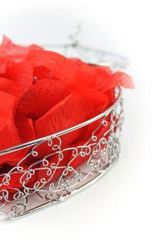 Free Shining Metal Box With Rose Petals Stock Photos - 22286053