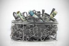 Free Coloured Money Inside Metal Box Stock Photo - 22286110