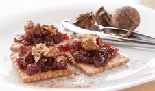 Free Meatless Food Cracker With Jam And Walnuts Royalty Free Stock Photos - 22286748