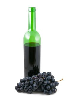 Bottle With Wine And A Cluster Of Grapes Stock Photography