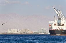 Resort Hotels And Cargo Ship In Eilat, Israel Stock Image