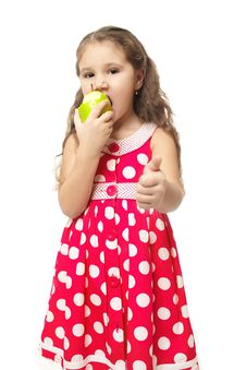 Free Little Beautiful Girl In Pink Clothes Green Apple Royalty Free Stock Photography - 22294817