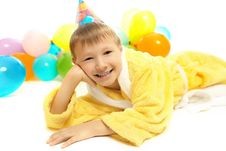 Little Boy In Dressing Gown Celebrates Birthday Royalty Free Stock Photos