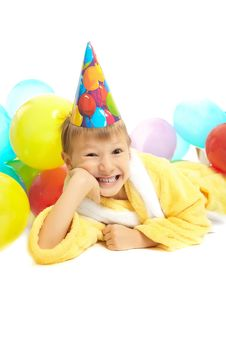 Little Boy In Dressing Gown Celebrates Birthday Stock Photos