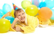 Little Boy In Dressing Gown Celebrates Birthday Royalty Free Stock Photo