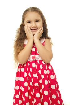 Portrait Of A Pretty Little Girl In Pink Dress Royalty Free Stock Photography