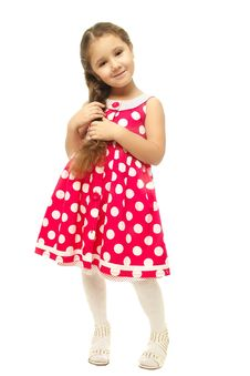 Portrait Of A Pretty Little Girl In Pink Dress Stock Photos