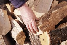 Hand Of Worker On A Stack Of Wood Royalty Free Stock Images