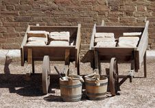 Old Wheelbarrows Royalty Free Stock Images