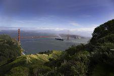 Ship Under Golden Gate Bridge Stock Photos