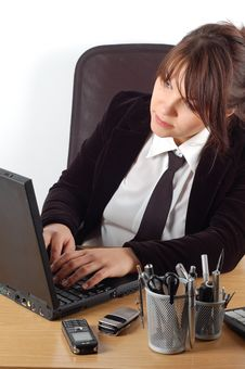 Business Woman At Desk 16 Royalty Free Stock Photo