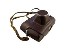 Old Camera In Leather Case Royalty Free Stock Images