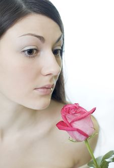 Free Female Smells A Rose Stock Image - 2233261