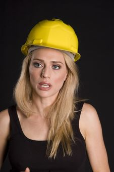 Sexy Blond Construction Worker Royalty Free Stock Photos