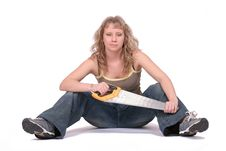 Free Woman Sitting  With A Saw Royalty Free Stock Photography - 2233877