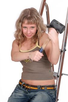 Happy Woman With Hammer On Lad Stock Photos