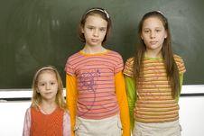 Free Girls At Greenboard Stock Photo - 2235890