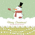 Free Ornate Christmas Card With Snowman Stock Photos - 22301183