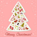 Free Stylized Christmas Tree With Xmas Toys, Balls... Stock Photography - 22309232