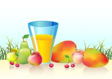 Free Fresh Fruits And Glass Of  Juice Royalty Free Stock Photos - 22300238