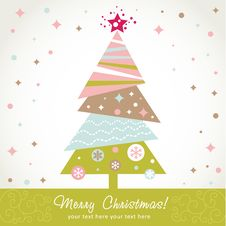 Colorful Design Christmas Tree With Xmas Toys Royalty Free Stock Images