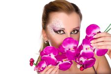 Free Professionally Madeup Girl With Orchids Stock Photos - 22306133