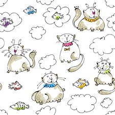 Free Dreaming Cats Seamless Pattern Stock Images - 22306504