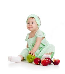 Free Baby Girl With Healthy Food Royalty Free Stock Images - 22307199