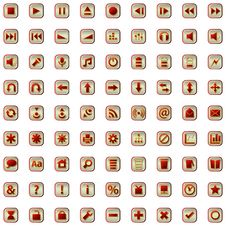 Free Red Icons Set Isolated On White Stock Photos - 22308733