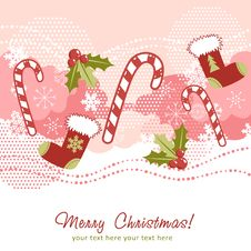 Free Ornate Christmas Card With Xmas Stocking Royalty Free Stock Photography - 22309107