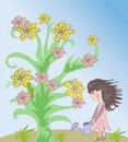 Free Little Girl And Flower Royalty Free Stock Image - 22317146