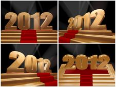 Free 2012 - Happy New Year On Gold Podium Royalty Free Stock Images - 22310329