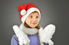 Free Surprised Girl With  Santa Hat Stock Image - 22310541