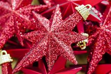 Free Shinny Red Christmas Stars Royalty Free Stock Photography - 22313987