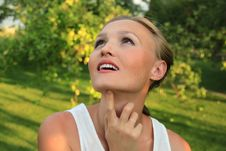 Young Woman Looking Up Royalty Free Stock Photo