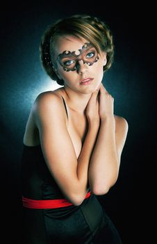 Masked Girl In Carnival Mask Royalty Free Stock Photos