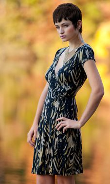 Tall Model Outside In Autumn Stock Photo