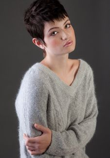 Free Pretty Young Woman In Soft, Fuzzy Sweater Royalty Free Stock Photography - 22319127