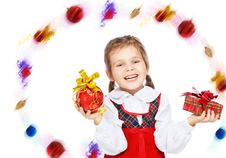 Free Beautiful Girl With Presents On A White Background Royalty Free Stock Photography - 22320677