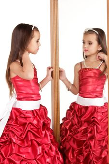 Free Beautiful Little Girl In Red Evening Dress Royalty Free Stock Photography - 22321097