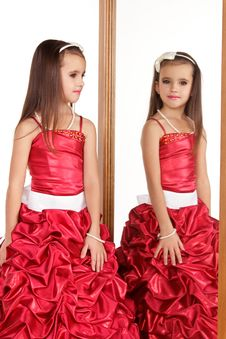 Free Beautiful Little Girl In Red Evening Dress Stock Image - 22321131