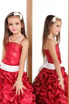 Free Beautiful Little Girl In Red Evening Dress Stock Images - 22321164