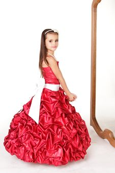 Free Beautiful Little Girl In Red Evening Dress Stock Images - 22321184