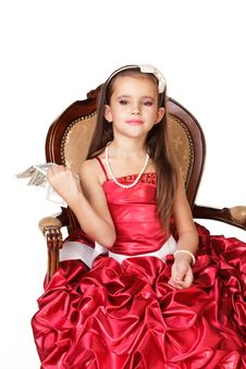 Free Beautiful Little Girl In Red Evening Dress Royalty Free Stock Image - 22321216
