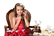 Free Beautiful Little Girl In Red Evening Dress Royalty Free Stock Photos - 22321238