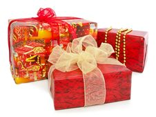 Free Gift Boxes Isolated On A White Royalty Free Stock Photography - 22325757