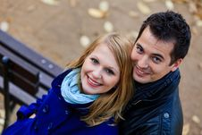 Romantic Couple In A Park Royalty Free Stock Image