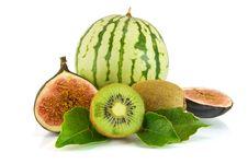 Ripe Fruits, Isolated On White Royalty Free Stock Photos